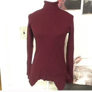 Central Park west maroon turtle neck sweater NWT